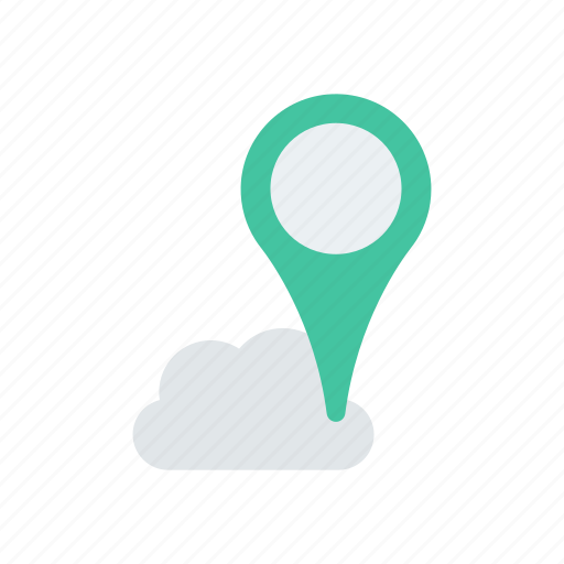 cloud, location, map, pin icon