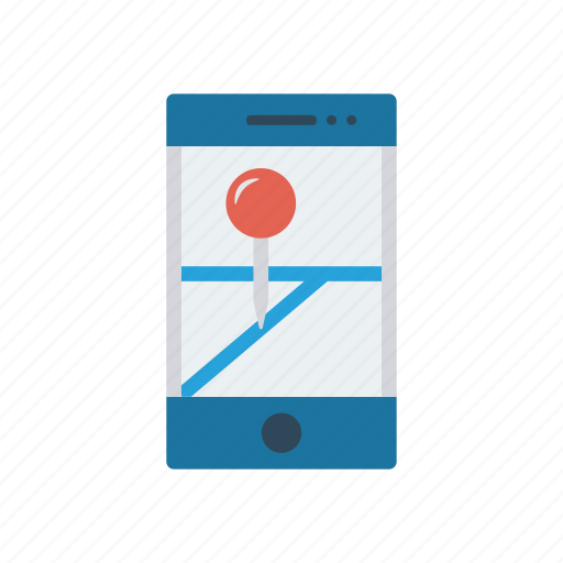 device, map, mobile, pin icon