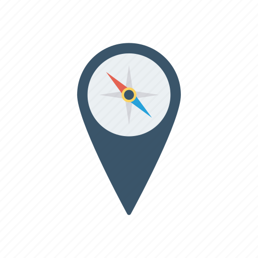 compass, direction, navigation, pin icon