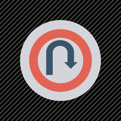arrow, direction, signboard, uturn icon