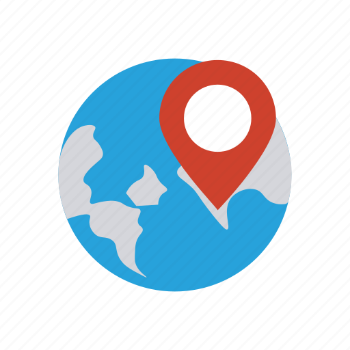 location, pin, point, world icon