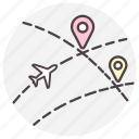 destination, gps, location, navigation, plane icon