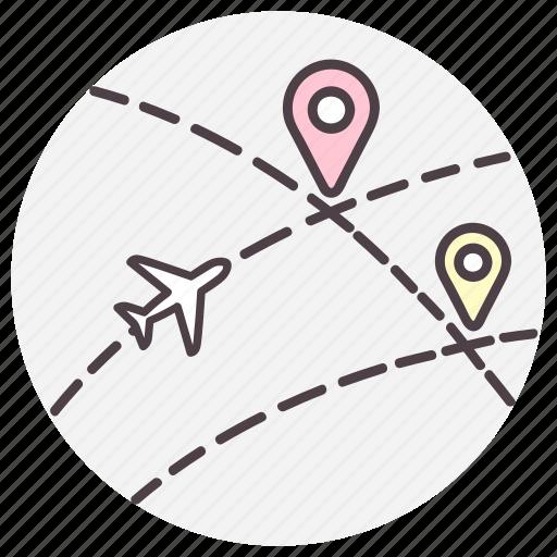 destination, gps, location, navigation, plane icon