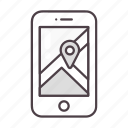 gps, location, map, navigation, phone icon