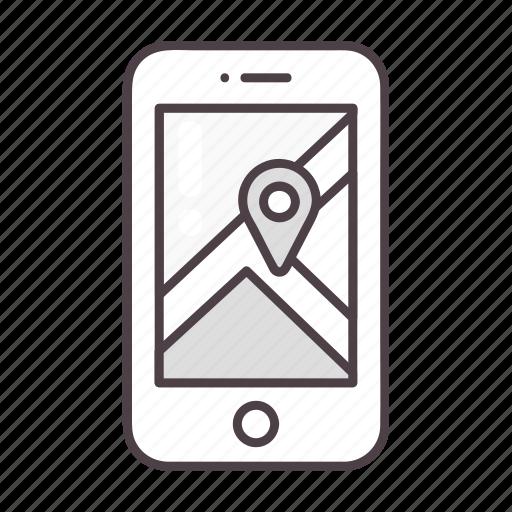 gps, location, map, navigation, phone icon