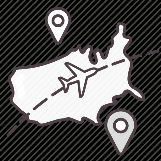 direction, location, map, navigation, usa icon