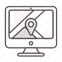 computer, google maps, location, navigation icon