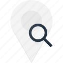 geolocation, location, map, pin, search icon