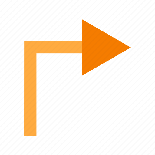 arrow, direction, path, right, road, sign, turn icon