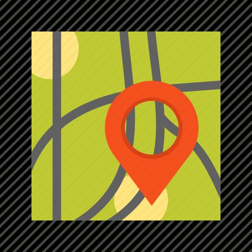 destination, location, map, paper, pin, road, travel icon