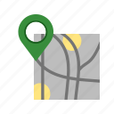 destination, gps, map, marked, road, roadmap, route icon