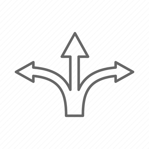 map, navigation, three, ways icon