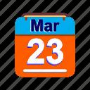 calendar, date, mar, march, schedule icon, th icon