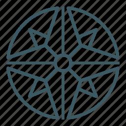 compass, direction, exploration, navigation, rose icon