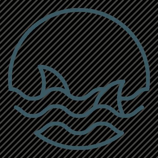 danger, ocean, sea, sharks, water icon