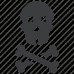 caution, crossbones, danger, death, pirate, skull, warning icon