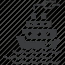 cruise, sail, sea, ship icon