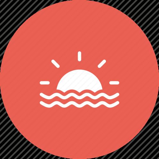 beach, nautical, ocean, sea, sun, sunrise, sunset icon