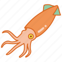 animal, calamari, cephalopod, ocean, sea, seafood, squid icon