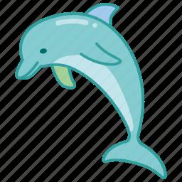 dolphin, mammal, marine, sea, show icon