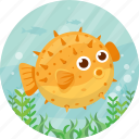 animal, fish, marine, puffer, sea, summer icon