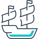 maritime, pirates, ship, transport icon