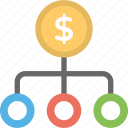 business network, dollar network, financial hierarchy, financial network icon