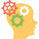 head gears, marketing mind, marketing plan, marketing strategy, thinking process icon
