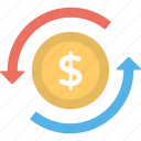commerce, currency exchange, dollar exchange, money circulation, money exchange icon