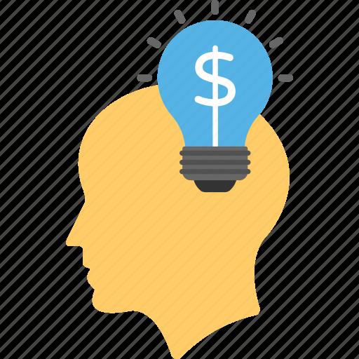 brain dollar bulb, creative marketing, innovation, marketing idea, marketing strategy icon