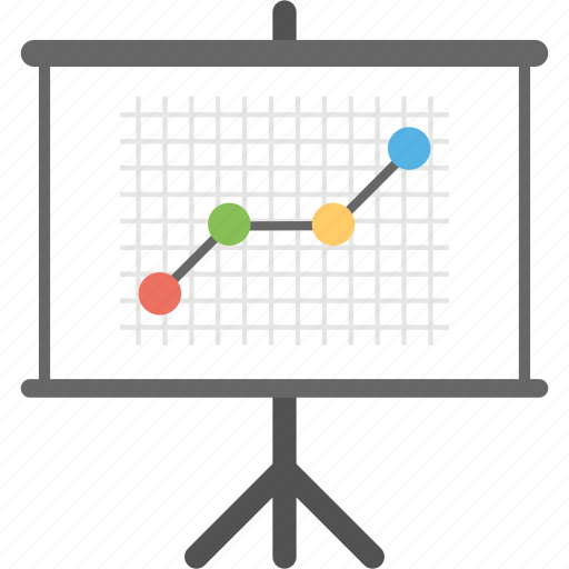 business presentation, marketing analysis, marketing performance, projection screen, statistics icon