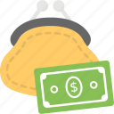 budget, clutch with dollar, finance, home budget, savings icon