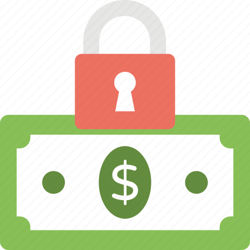 financial insurance, financial protection, financial security, money with padlock, safe banking icon