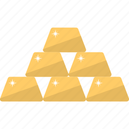 gold, gold biscuits, gold ingots, gold stack, solid gold icon