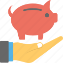 investment, piggy bank, piggy on hand, retirement planning, savings icon