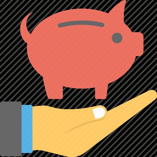 investment, piggy bank, piggy on hand, retirement planning, savings icon