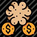 brain, brainstorm, currency, dollar, maney, thinking icon