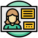 business, card, human, id, people, woman icon