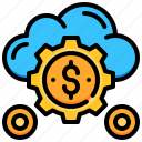 cloud, currency, dollar, funding, gear, money