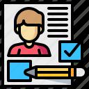 checklist, document, man, pencil, resume, survey icon