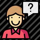 avatar, faq, human, man, message, question icon