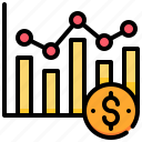 analysis, currency, dollar, graph, money icon