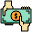 currency, dollar, exchange, hand, money, receive icon