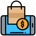 bag, dollar, money, online, shopping, smartphone icon