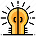 creative, door, idea, lightbulb, opportunity icon