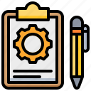 document, gear, order, pen, processing, report icon
