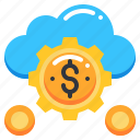 cloud, currency, dollar, funding, gear, money icon