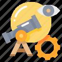 collaboration, eye, find, gear, search icon