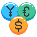 currency, dollar, euro, exchange, money, yen icon