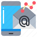 email, graph, marketing, smartphone, technology icon
